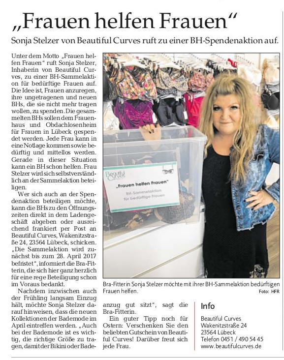 Presseartikel - Beautiful Curves - Frauen helfen Frauen - 29.03.17